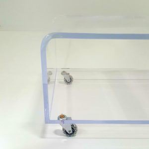 Custom-Made Lucite Waterfall Style Coffee Table on Wheels