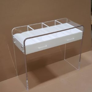 Custom Lucite Two Drawer Waterfall Desk with Three Compartments