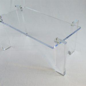 Offset Leg Lucite Coffee Table  40″ W x 20″ D x 18″ H
