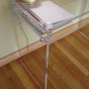 Custom Lucite Single Shelf Desk