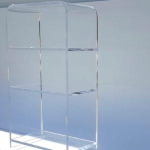 Waterfall Style Lucite 3-Shelve Bookshelf 20″W x 12″D x 38″H