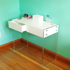 Custom Lucite Vanity/Desk with Two Drawers